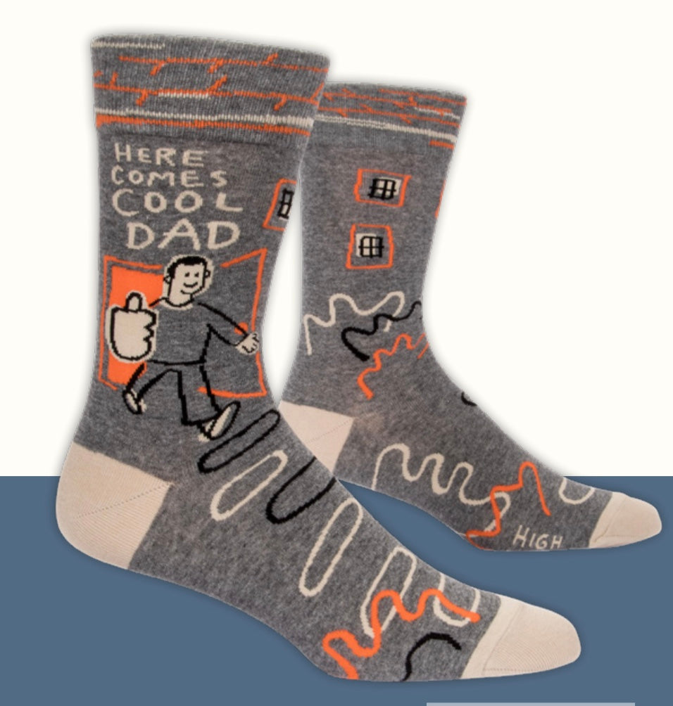 """Here Comes Cool Dad"" Blue Q Men's Crew Socks"