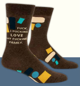 """F*ck I Love My Family"" Blue Q Men's Crew Socks"