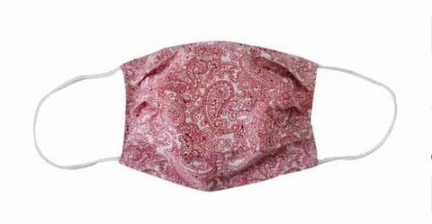 Red & White Paisley Cotton Mask (Adult)