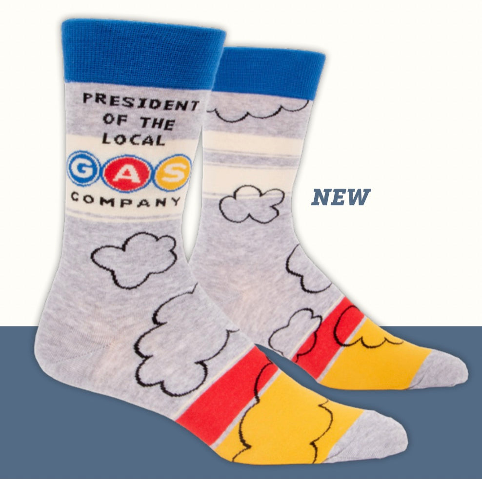 """President of the Gas Company"" Blue Q Men's Crew Socks"