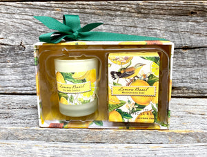 Michel Design Works Lemon Basil Candle and Soap Gift Set