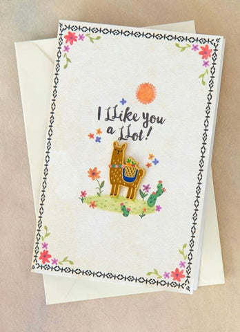 "Natural Life ""I Like You a Llot"" Enamel Pin Card"