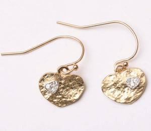Petite Gold Heart with Crystal Earrings
