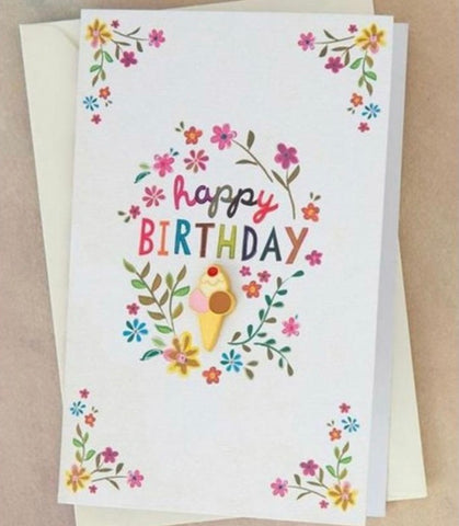 "Natural Life ""Happy Birthday"" Enamel Pin on Card"