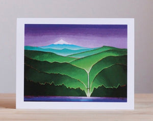 Multnomah Falls with Mt. Hood Greeting Card