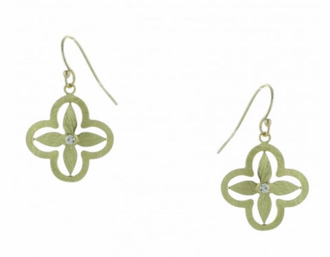 Gold Four Leaf Clover with Crystal  Hand Etched Earrings