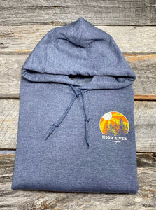 Hood River Hoodie With Sunburst Logo Unisex Washed Denim