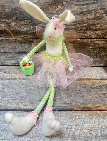 Easter Bunny Fairy with Goody Basket & Rhinestone Skirt