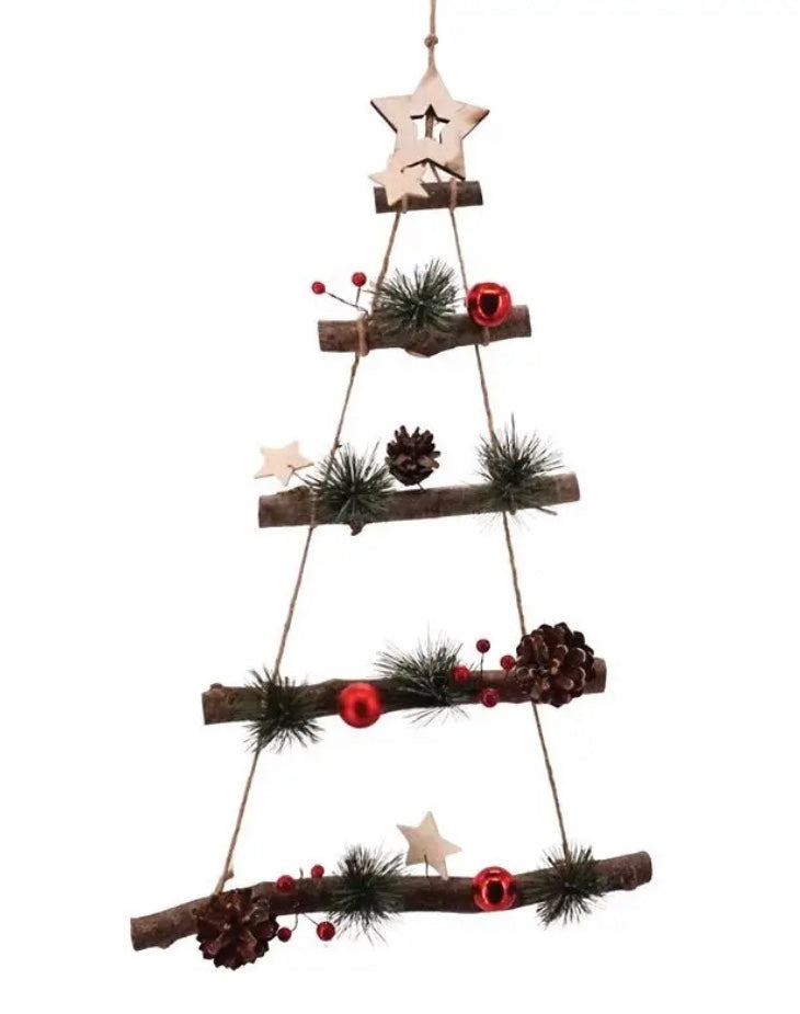 Christmas Tree Wall Hanging with Red Balls and White Stars