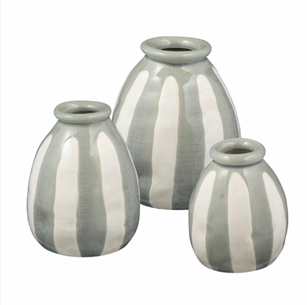Striped Ceramic Vases in 3 Sizes