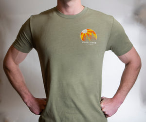 Men's Short Sleeve Tee Shirt with  Hood River Sunburst Logo in Sage, Light Heather Gray &  Charcoal