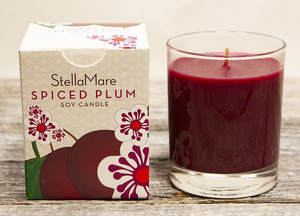 Stella Mare Spiced Plum is a perennial favorite. This unforgettable Spiced Plum fragrance combines the rich, heady perfume of dark, ripe, late summer plums with a holiday spiciness. The color and scent of Spiced Plum is a rich addition to any room or table throughout the year but especially around harvest and the holidays.  100% Lead Free Cotton Wick, vegan and cruelty free, Hand poured in Portland Oregon in the great Pacific Northwest.