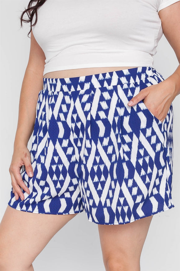 Plus Size Off White Blue Tribal Print High-waist Shorts