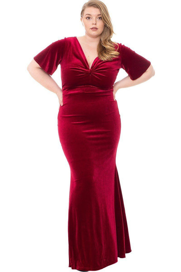 Stretch Velvet Bow Front Deep V-neck Dress