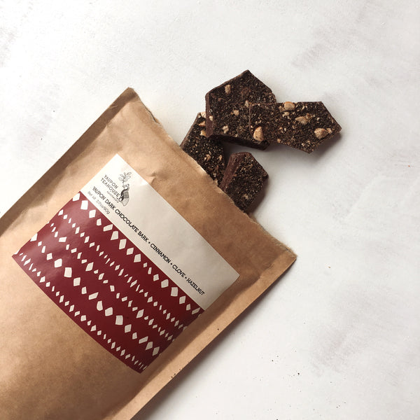 Yaupon Dark Chocolate Bark + Cinnamon + Clove + Hazelnut