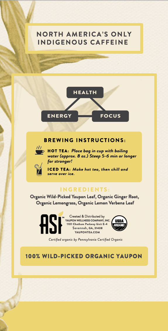 ASI Ginger Revival Tea Ingredients - Yaupon Tea + Wellness Co