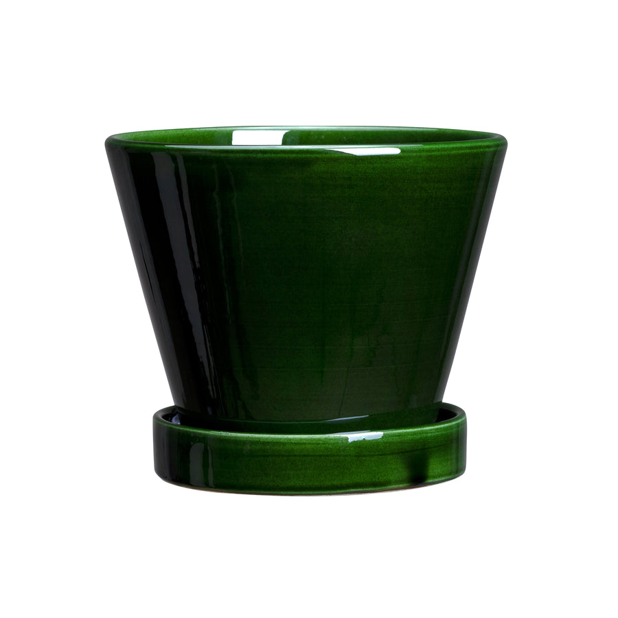 Bergs Potter Julie Pot Glazed Green with Saucer 13cm