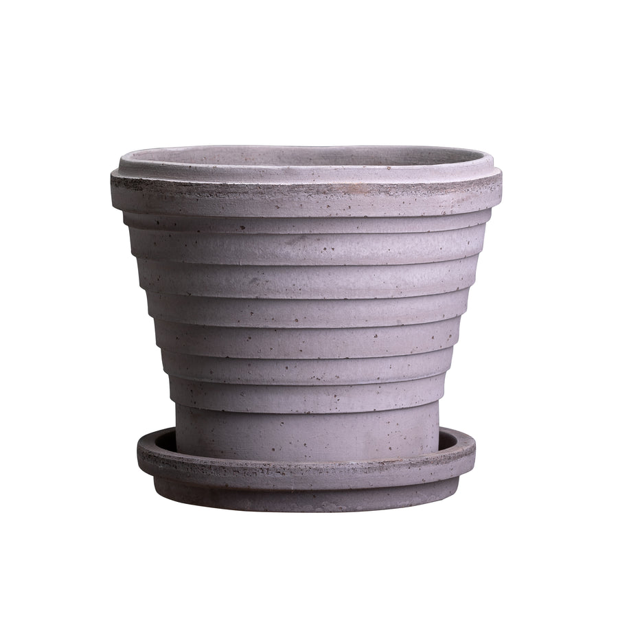 Bergs Potter Neptune Pot Grey with Saucer 21cm