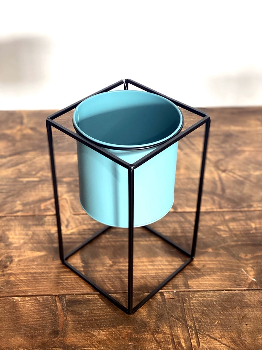 Metal Planter Blue 14cm
