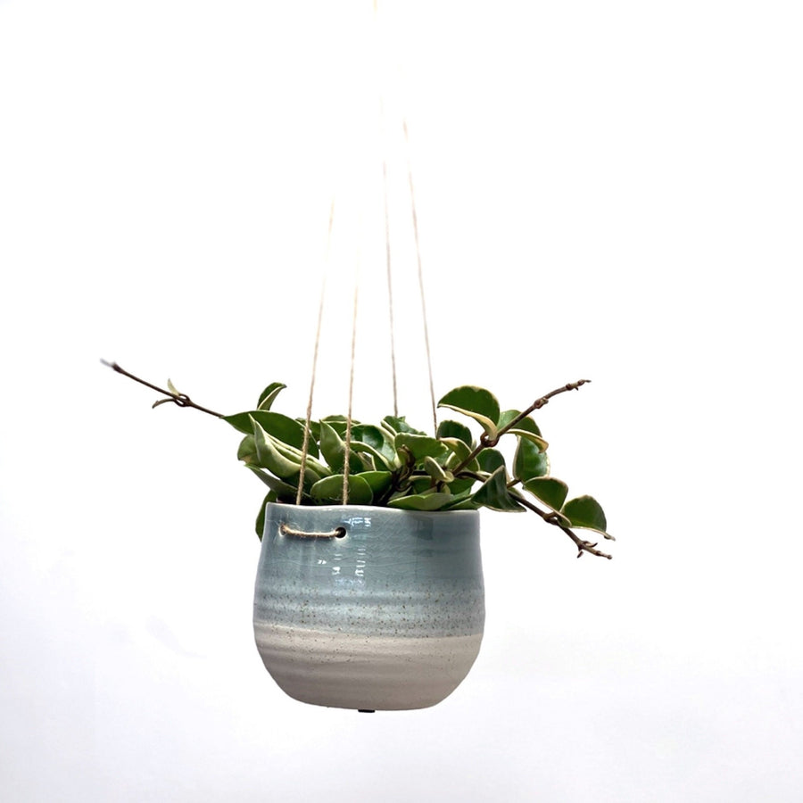 Crackle Glaze Ceramic Hanging Pot Blue