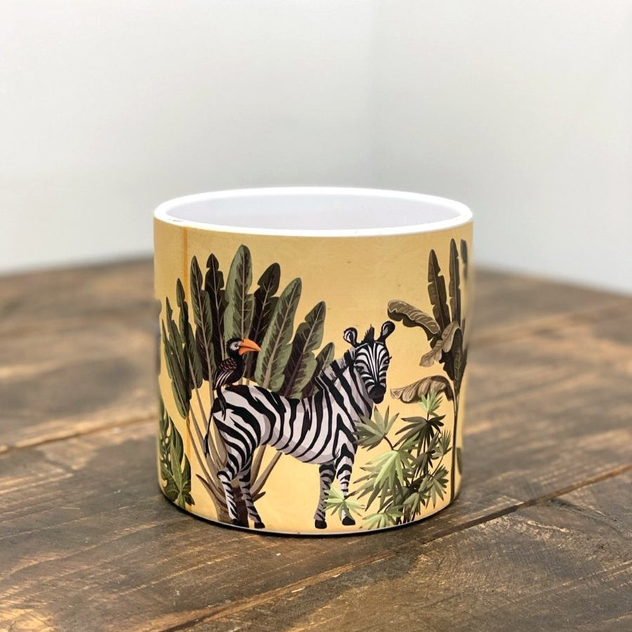 Yellow Zebra Ceramic Pot 13cm