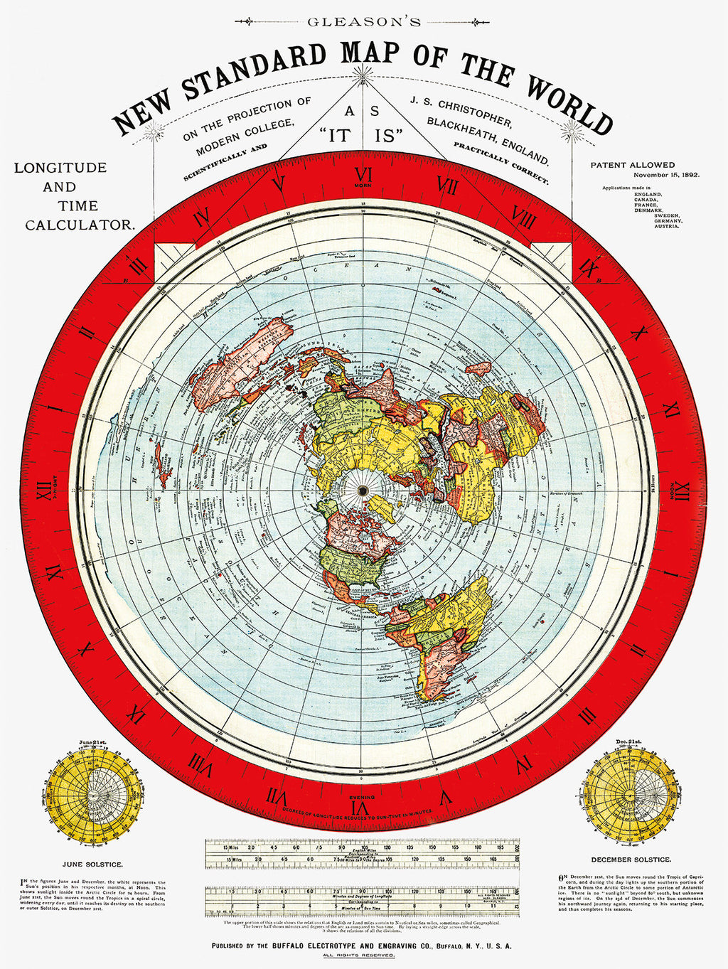 1892 Gleason's New Standard Map Of The World - femerch