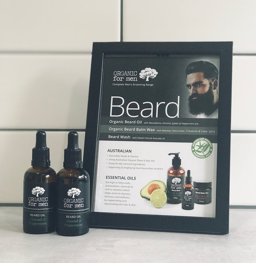 Organic For Men - Almond and Peppermint Beard Oil - 50ml