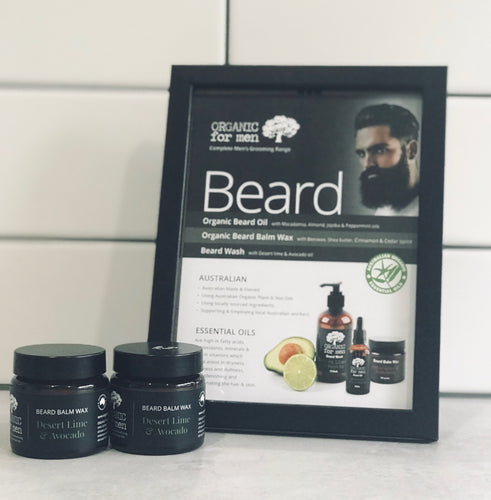 Organic For Men - Desert Lime and Avocado Beard Balm Wax - 60g