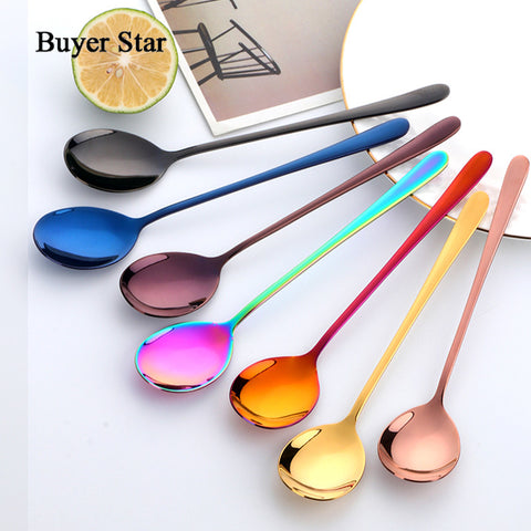 8 Colors Stainless Steel Spoon With Long Handle for Ice Coffee Tea 21 CM