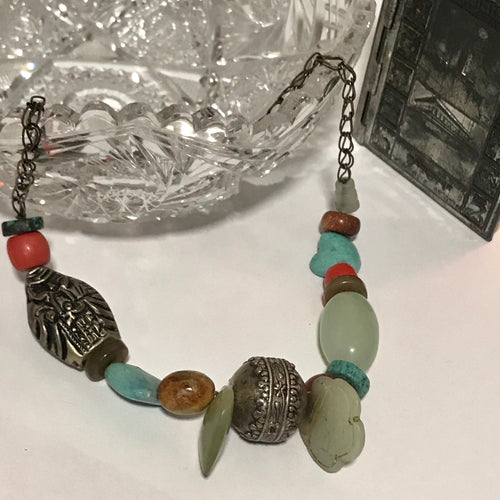 Charm Necklace Of Turquoise, Coral, Jade, Silver, Polished Sandstone