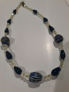 Fancy Lampwork and Drawn Cane Venetian Glass Bead Necklace