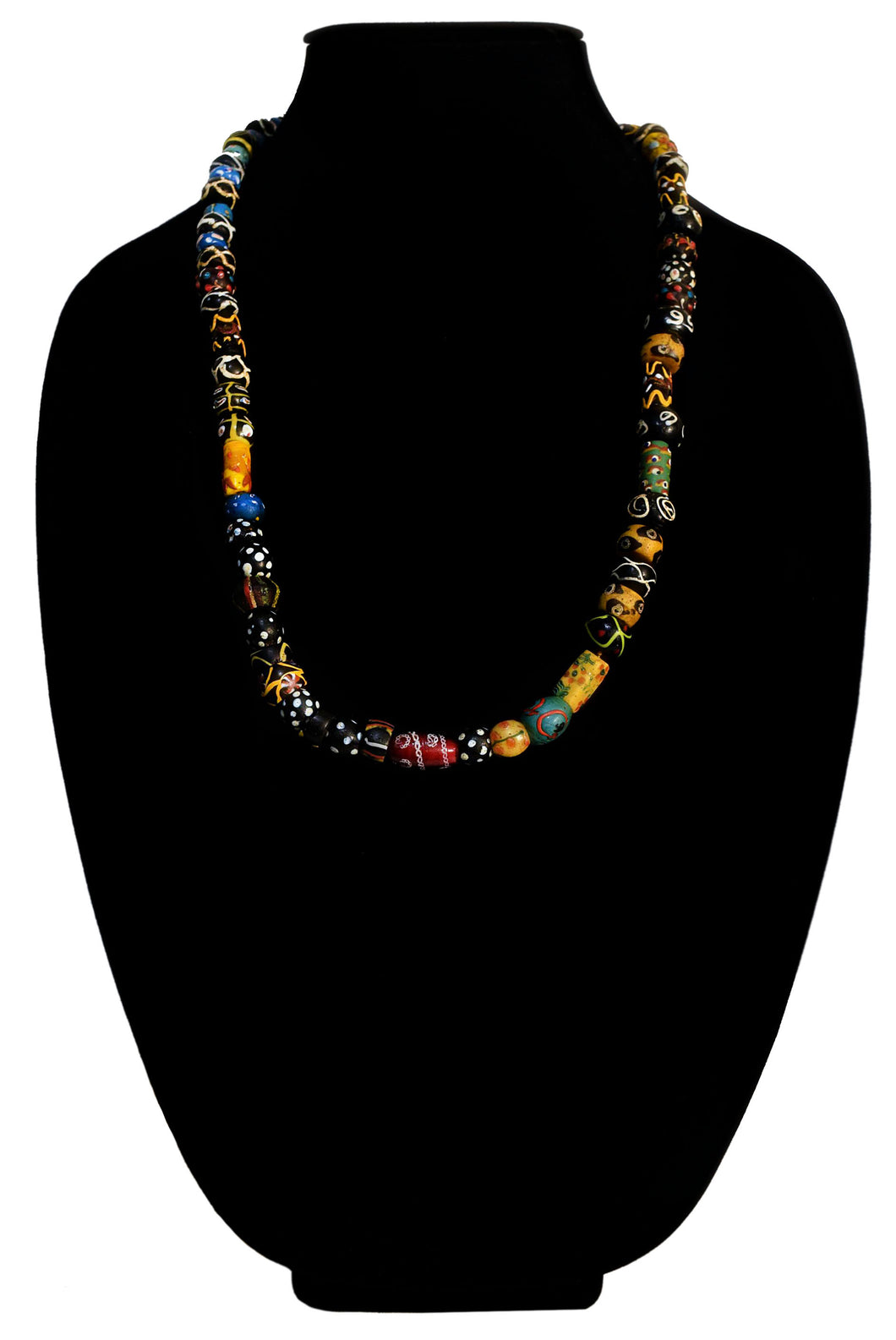 Fancy Venetian Skunk And Fluted Bead Necklace