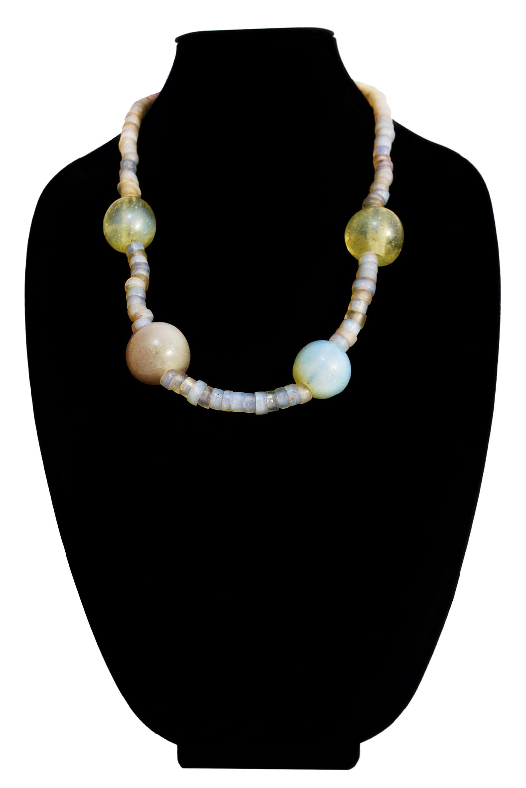Venetian Moon Glass Bead And Dutch Dogon Glass Bead Necklace