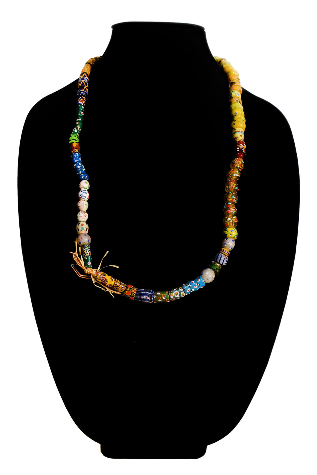 Perfectly Strung Fancy Venetian Glass Bead Necklace