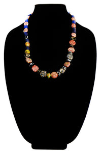 Tablet Fluted Trading Glass Bead Necklace