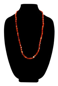Striped Red Agate Bead Necklace
