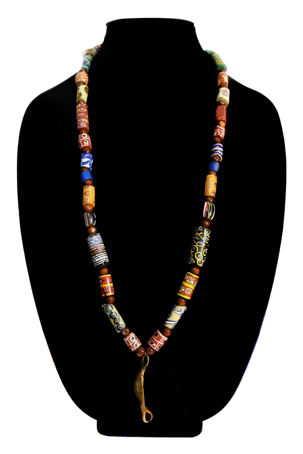 Brass Evil Eye Necklace With Chevron Millefiori and Other Antique Beads