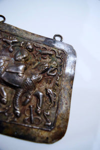 Scholar Depicted Riding Kirin On Late Qing Repousse Amalgam Silver Breastplate