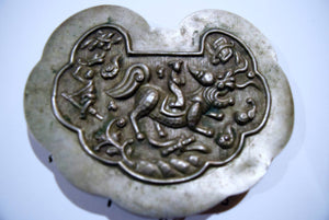 Female Hero Riding Kirin Repousse Amalgam Silver Pendant