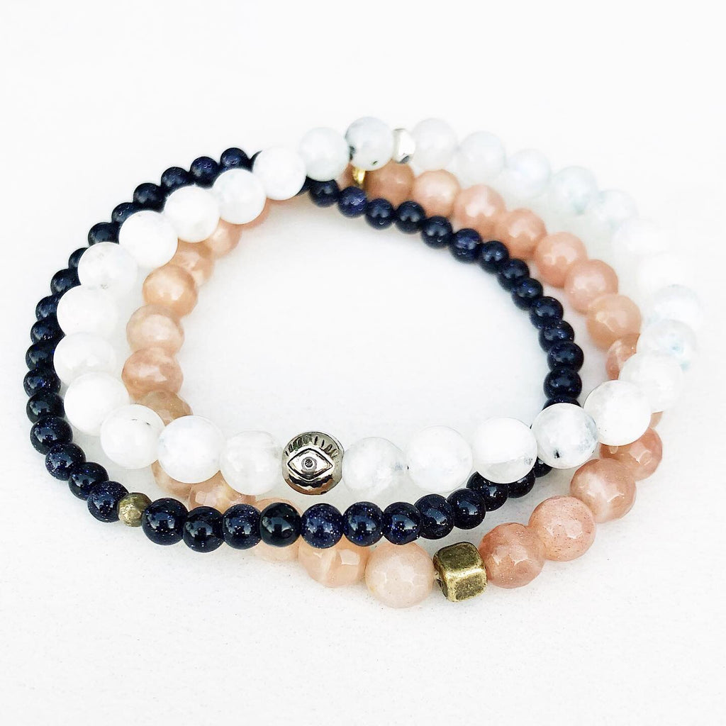 Hanuman Heart Sun and Moon mala bead bracelet stack moonstone sunstone goldstone