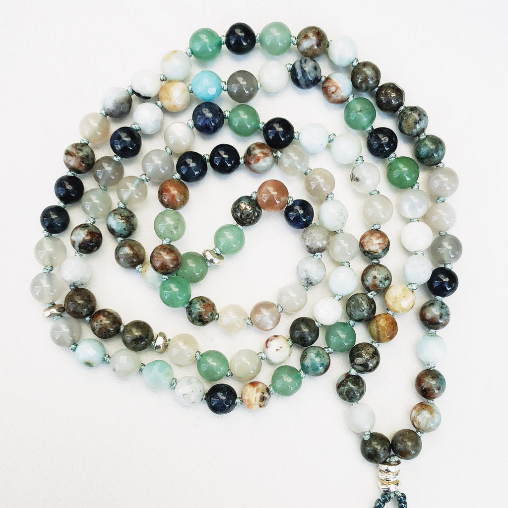 Hanuman Heart ocean mala bead necklace mala jewelry beaded necklace gemstones crystals meditation