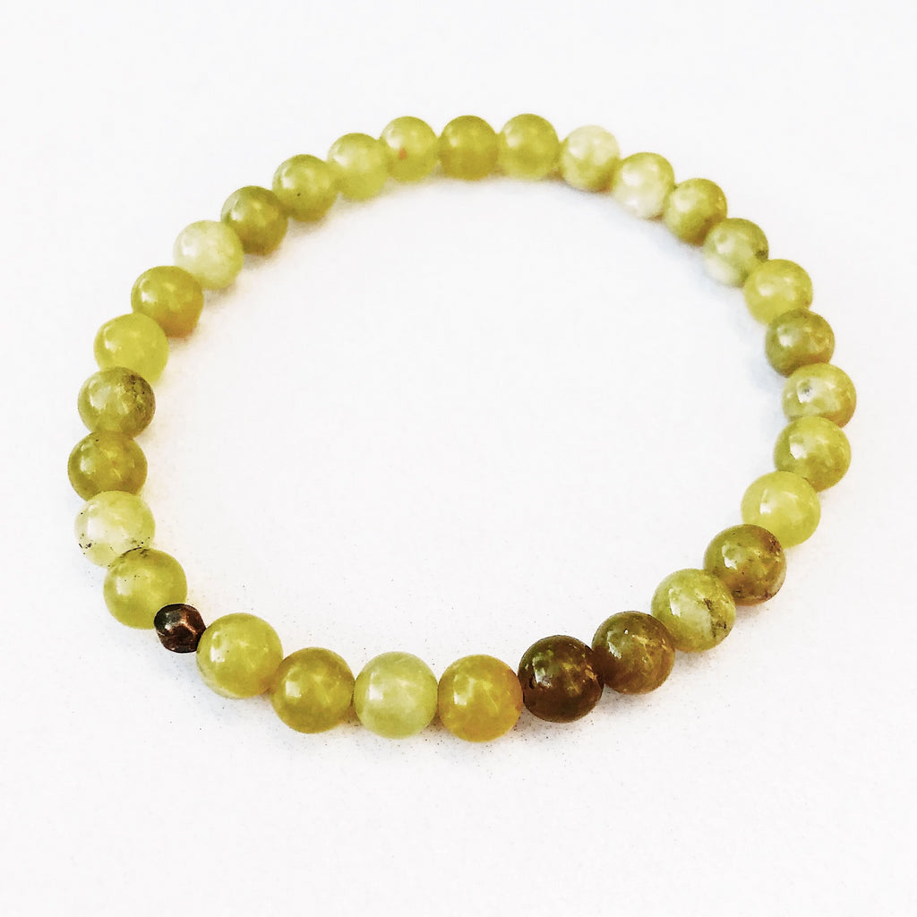 Hanuman Heart Olive Bracelet Stack stacking bracelet peridot beaded jewelry