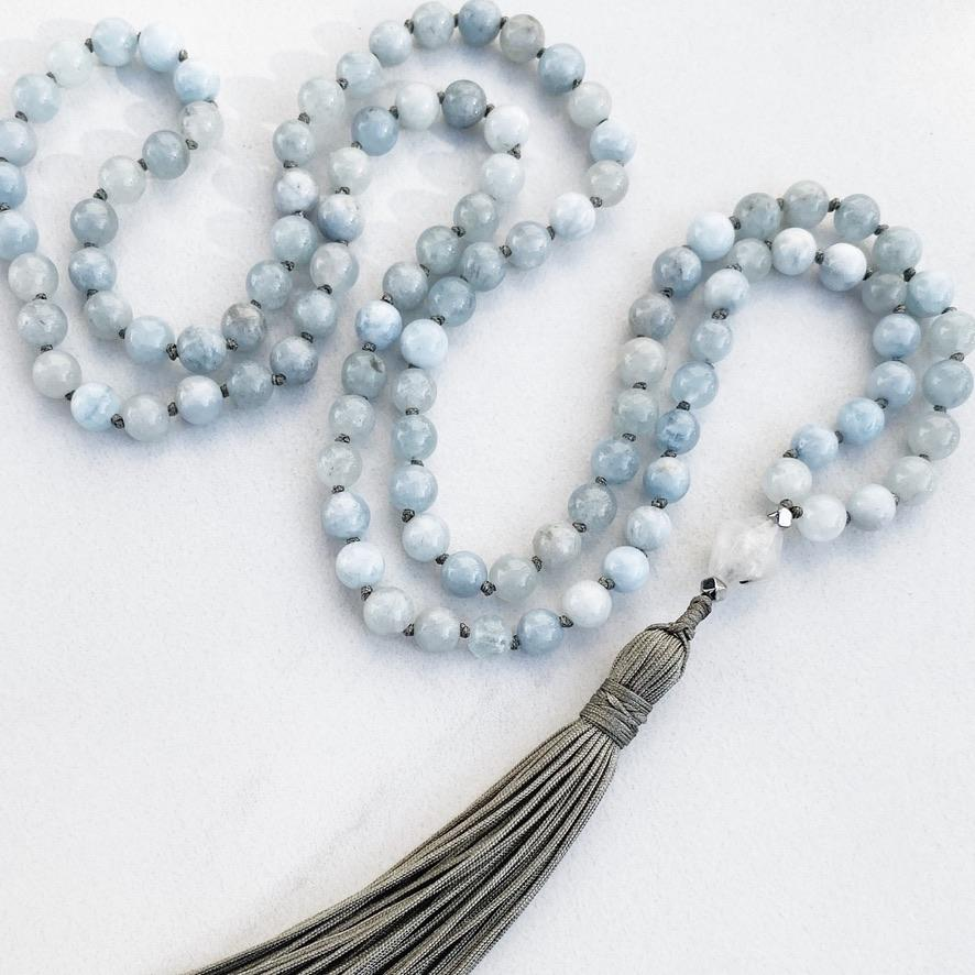 Hanuman Heart custom handmade jewelry aquamarine mala bead tassel necklace