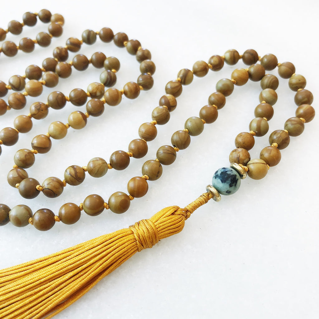 Hanuman Heart jasper mala necklace mala beads mala jewlery mens jewelry