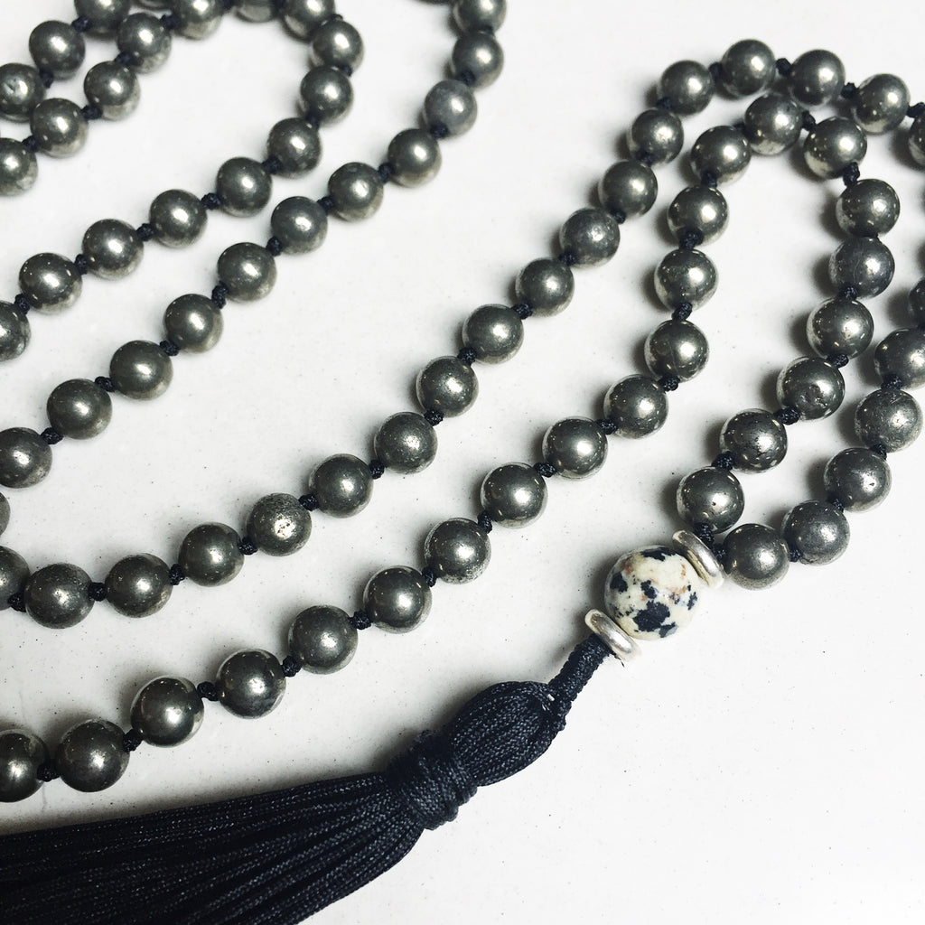 Hanuman Heart pyrite mala bead tassel necklace