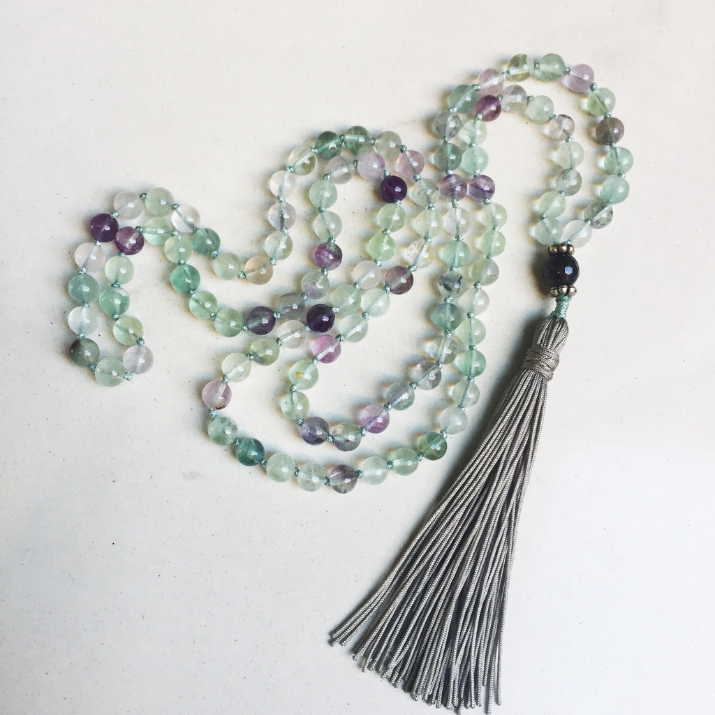 Hanuman Heart fluorite mala bead necklace tassel