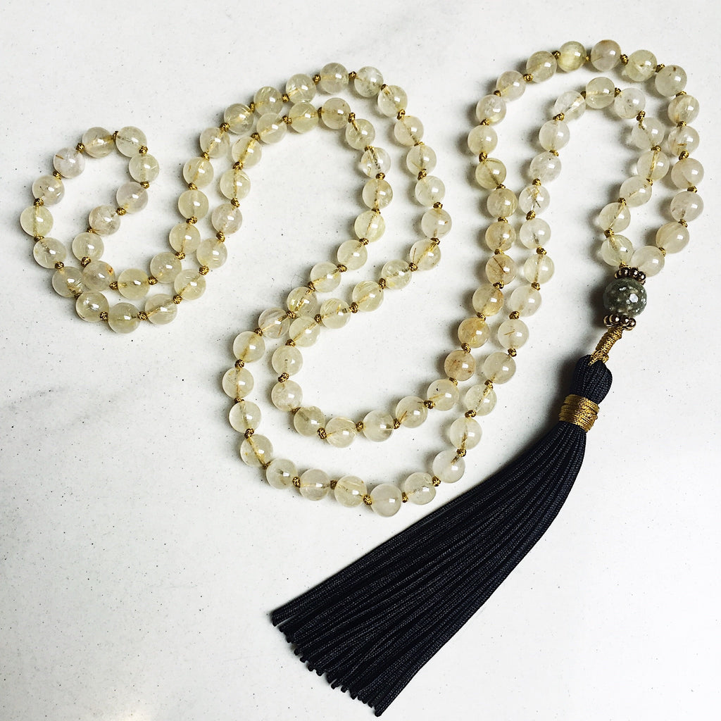 Hanuman Heart rutilated quartz mala bead tassel necklace