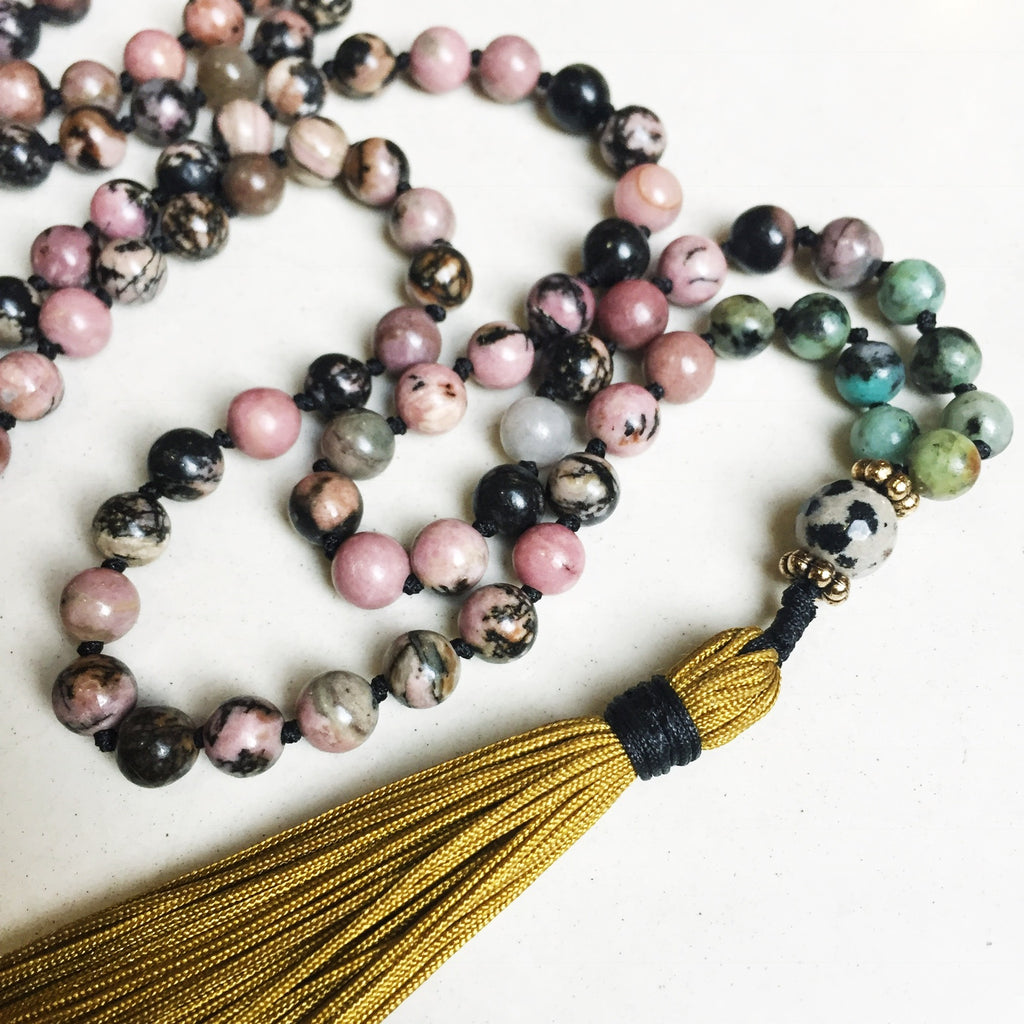Hanuman Heart rhodonite mala bead tassel necklace