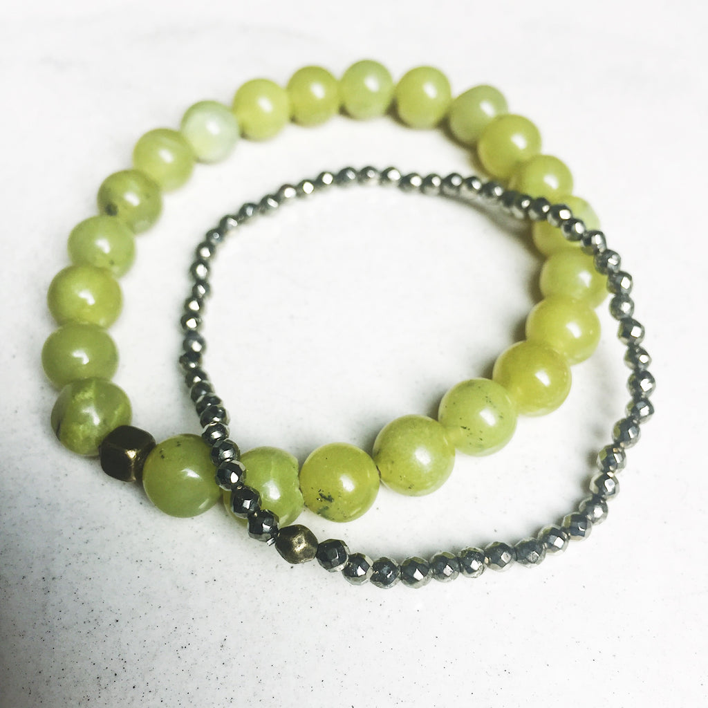 Hanuman Heart power pair peridot pyrite mala bead bracelet stack