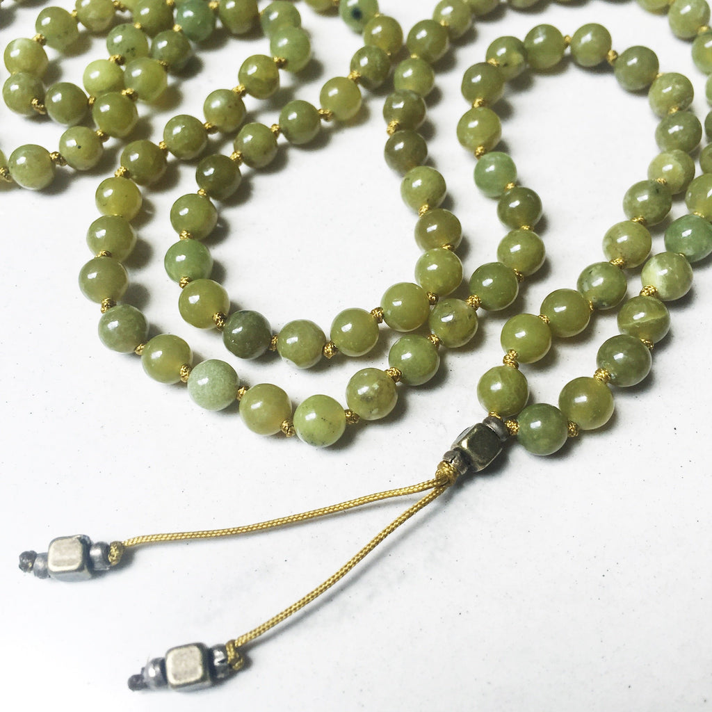 Hanuman Heart Custom Jewelry Peridot Mala Beads